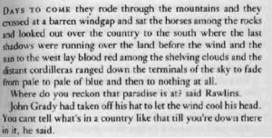 McCarthy  Pretty horse quote